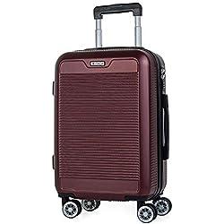 ITACA - Maleta Trolley 55 cm Cabina ABS Texturizado. Equipaje de Mano. Rígida, Resistente y Ligera. Mango Telescópico, 2 Asas y 4 Ruedas. Vuelos Low Cost Ryanair T72050, Color Rojo