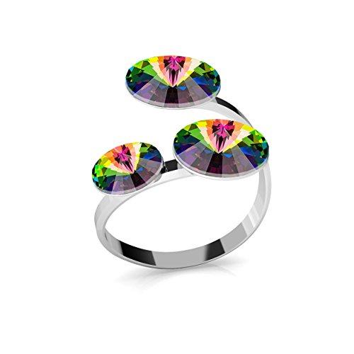 Crystals & Stones Ring *RIVOLI* Dreifach Kristall *Viele Farben* - 925 Silber Ring - Sterling Silber Damen Ring Größe verstellbar PIN/75 (Vitrail Medium)