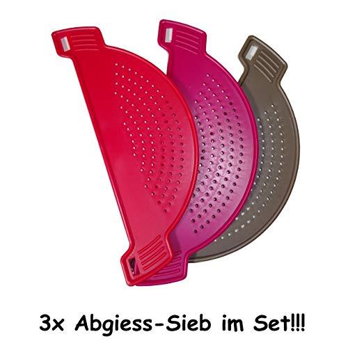1a-becker 3X Abgiesssieb Abgiesshilfe Abschüttsieb Sieb Kunststoff für Töpfe Schüsseln