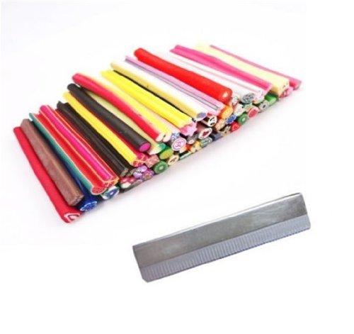 WAWO 50pcs mignon Nail Art D¨¦corations Rods conception 3D Nail Art manucure Fimo Canes B?tons Rods Autocollants Gel Conseils d¨¦co + lame