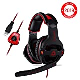KLIM Mantis Gaming Headset - USB 7.1 Gaming Kopfhörer - Hohe Qualität mit mikrofon - Für PC Mac PS4 Laptop Games - Over Ear Gamer Headphones - Noise Cancelling Microphone [ Neue 2019 Version ]