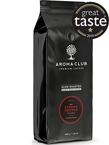 Aroma Club Kaffeebohnen 1 kg - Strong George Dark röstung - brasilianisch - Slow Roast - UTZ certified & co2 Neutraal