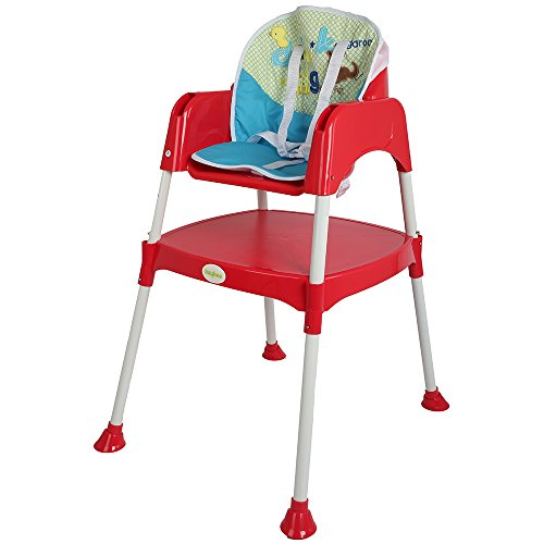 Baybee Little Miracle Beautiful-The Convertible Baby High Chair Feeding Chair (with Cushion) (Red)