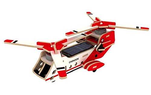Kids Toys, Solar Energy Drived Wooden Puzzles Decorations 3D Helicopter Toy Model Kit für Kinder oder Erwachsene (Chinook)
