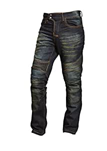 Qaswa Mens Motorcycle Denim Pants Motorbike Jeans with Stretch Panel Aramid Protection Lining Biker Trousers