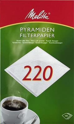 Pyramid Melitta filter paper 220 g/m², White (Pack of 100) by Melitta