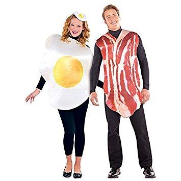 Unisex Herren Damen Frühstück Freunde Kostüm für Eier & Bacon Kostüm (Kostüme Freund)