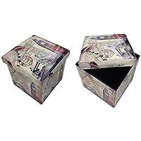 GMMH Taburete Londres Puente Original Box Caja de Asiento con Forma de Cubo Plegable Banco baúl reposapiés para guitarristas - Muebles de Dormitorio precios