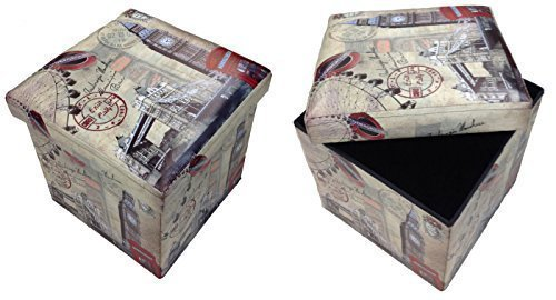 GMMH Hocker Sitzhocker London Brücke Original Box Aufbewahrungsbox Sitzwürfel Truhe Fußbank Sitzbank Faltbar