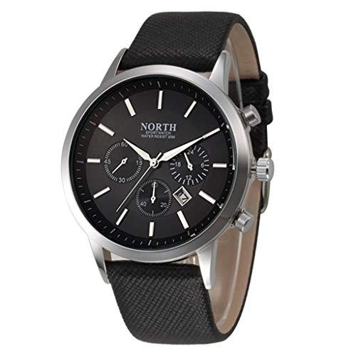 LSAltd North Sports Luxury Mens Lederarmband Analoge Quarz Uhren Armbanduhr - Ein Rabatt Herren Duft