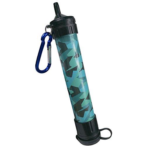 Wasser Strohhalm, J.B.W Notfall Camping Wasser Filter Strohhalm Tragbarer Reiniger – Chemiefrei, BPA frei & Leicht. Das Filtersystem entfernt 99.9% Bakterien & 0.01 Mikron Filter- Tarnfarbe