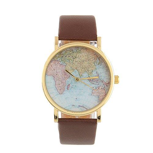 Globe Weltkarte Zifferblatt braun Lederband Quarzuhr Armbanduhr für Frauen (Männer Kostüme Sailor)