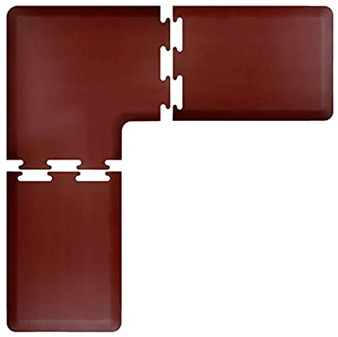 Wellnessmats anti-fatigue 6pieds par 3pieds Série L Ensemble de tapis de cuisine, gris, bordeaux, 6 Feet by 2 Feet