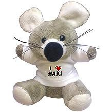 Llavero de ratoncito de peluche con Amo Haki en la camiseta (nombre de pila/apellido/apodo)