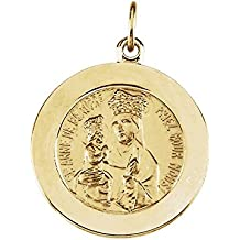 Jaune 14 carats or Saint Anne médaille Beaupre JewelryWeb De 18 mm