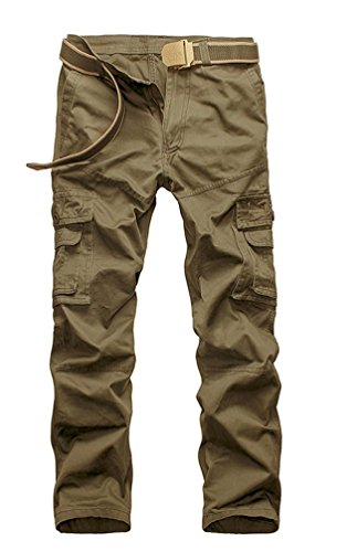 Ghope Herren Hose Cargohose Outdoor Pants Army Camouflage Chino Vintage Jogger Cargotaschen Trainingshose 5 Farben beige 29W