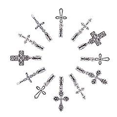 Idea Regalo - NBEADS 50 PZ Misti Stile Tibetano Argento Antico Croce Pendenti di Fascini Europeo Ciondola Perline FAI DA TE Monili Che Fanno e Altri Accessori Moda