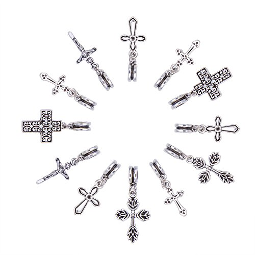 nbeads Cruz Dangle Europea de aleación de estilo tibetano cuentas de mezcla,...