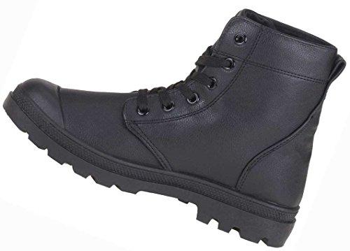 Stiefeletten Damen Schuhe Leder Optik SCHNÜRER BOOTS 36-41 Schwarz