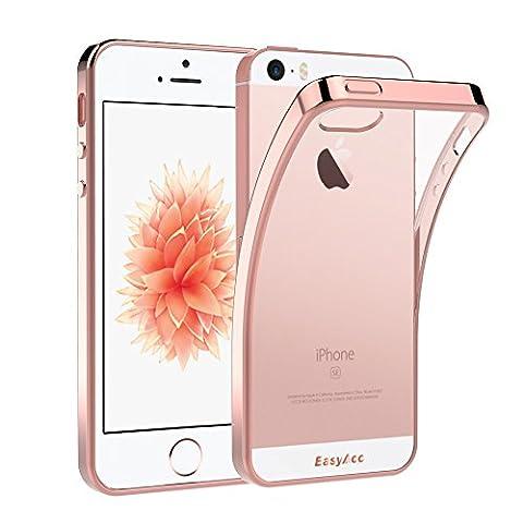 EasyAcc iPhone SE 5S 5 Hülle Case Transparent Handyhülle Schutzhülle Durchsichtig TPU Crystal Clear Case Backcover Bumper Slimcase – Roségold
