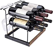 Tabletop Wood Wine Rack, Countertop Wine Holder Storage Stand for 6 Bottle Wine and 4 Glasses, Perfect for Hom
