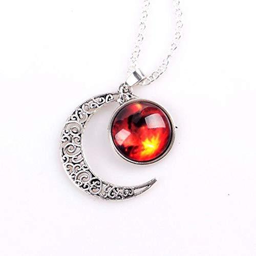 KaiMeiLong:Damen Opal Pendant Halskette Lange Halskette Graviert Moon Galaxis Halbmond Billig Zauber Damas Europäisch (Kostüme Halloween Paare Billig)
