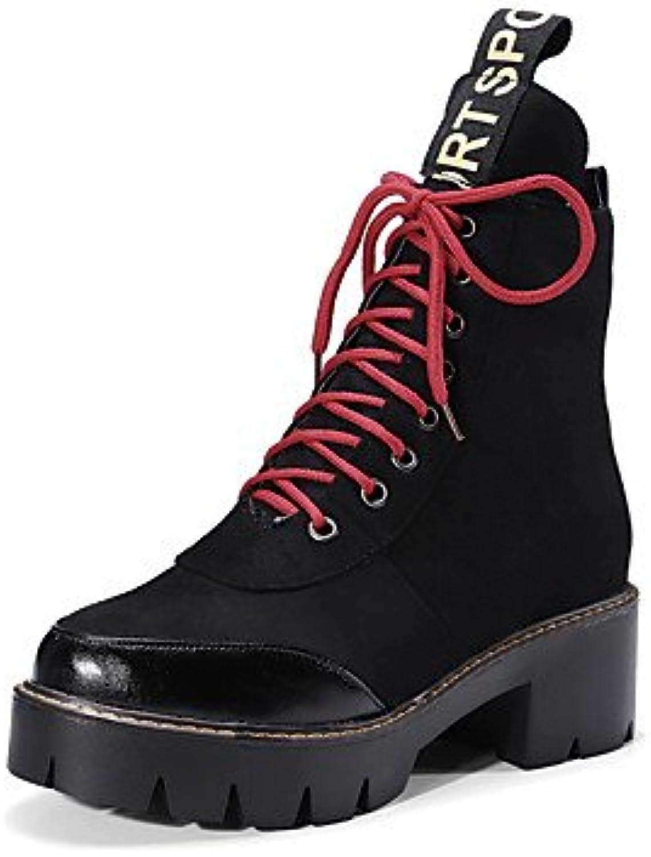 GLL & xuezi mujeres botas botas botas de moda del otoño invierno piel sintética Casual al aire libre vestido cordones...