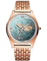 Reloj de Pulsera de Cuarzo Dorado Minimalista Ultra Delgado, Resistente al Agua, patrón artístico