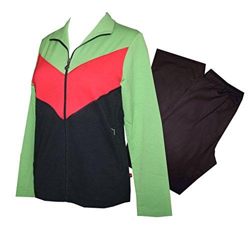 Damen Anzug Trainingsanzug, Hausanzug, BESTFORM (40, gras/tomate/schwarz) (Tomaten Anzug)