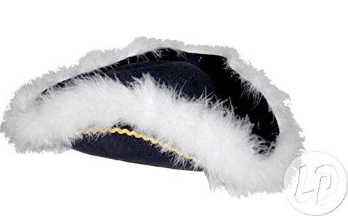 Lot / Set von 3 Stück - tricorn Hut mit schwarzen Federn (Tricorn Schwarz)