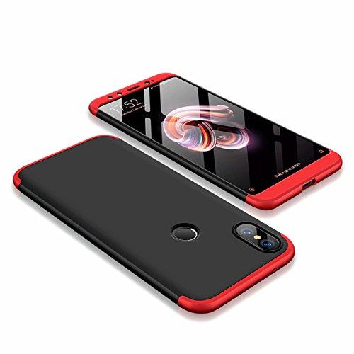 DESCHE compatibles con Funda Xiaomi Mi Mix 2S Rojo Negro, PC Duro Cubierta Protectora Ultrafino Anti-rasguños Parachoque Mate Phone Case - Rojo Negro