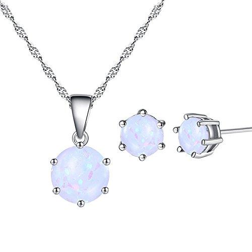 Yazilind Mode schmuck Set Frauen Halskette Ohrringe Set Elegante Runde Opal Anhänger mit Charme Ohrringe für Party