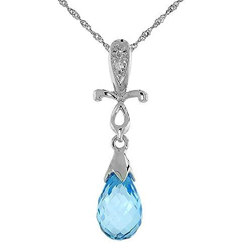 """& croce in oro bianco 9 kt, pendente con topazio blu, con diamanti da 0,01 carati, taglio a brillante, 1 in., 25 mm di altezza, w/45,72 cm (18"""") catenina da"""