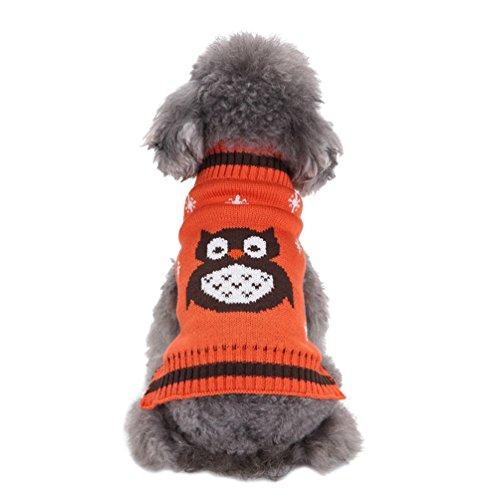 n Kleidung Haustier Karikatur Eule Gestrickte Pullover Orange XS (Hund, Eule Kostüm)
