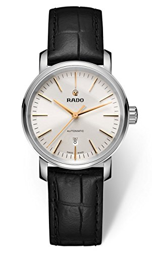 Rado DiaMaster Mini R14050105 Stainless Steel Ladies Watch Sapphire Crystal Leather Strap Automatic