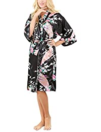 La Dearchuu Summer Dressing Gowns for Women UK Size 4-22 Satin Kimono Robes  for 8d1b4f73f