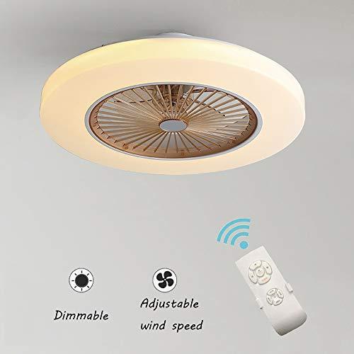 Ventilateur De Plafond Avec Lampe, 36W Creative Invisible Fan LED Plafonnier Télécommande Dimmable Ultra-silencieux Can Timing Fan Lustre Moderne Salon Chambre Enfants Ventilateur Lampe Φ58 * H20cm