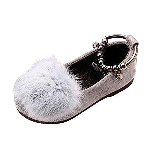 Vovotrade Baby Mädchen Schuhe Warm Flock Fluffy Bowknot Student Einzel Prinzessin Schuhe Anti-Rutsch weiches Solekleinkind 24-28.5 EU