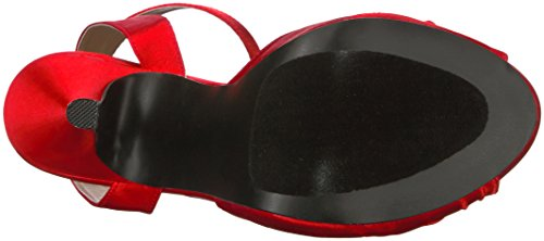 Pleaser Damen Eve-01 Plateau Red (Red Satin)