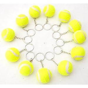 12 X Tennisbälle 4 cm Tennis Ball Schlüsselanhänger Gelb by schenkfix