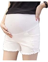 Pantalones cortos de las mujeres embarazadas del agujero del dril de algodón de la moda Pantalones del estiramiento del estómago del estiramiento del algodón