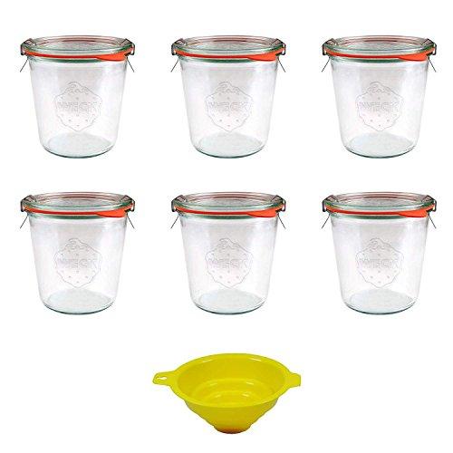 Viva Haushaltswaren - 6 x mittleres Weckglas/Einmachglas 500 ml mit Deckel in Sturzform, leeres Rundrandglas zum Einkochen - als Marmeladenglas, Dessertglas (inkl. Klammern, Ringen & Trichter)
