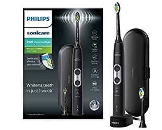 Philips Sonicare ProtectiveClean 6100 Electric Toothbrush with Travel Case, 3 x Cleaning Modes, 3 Intensities & Additional Toothbrush Head - Black (UK 2-pin Bathroom Plug) - HX6870/47 (B07B11B6WQ) | Amazon price tracker / tracking, Amazon price history charts, Amazon price watches, Amazon price drop alerts