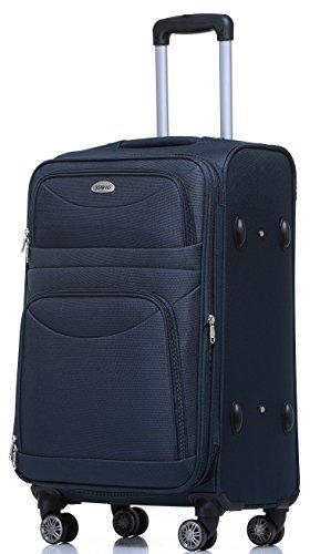 BEIBYE 8009 TSA Schloß Stoff Trolley Reisekoffer Koffer Kofferset Gepäckset (Blau, XL)