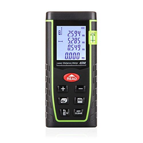 AMANKA - Laser Entfernungsmesser | Laser Distanzmessgerät | Messung von Distanz, Flächen, Volumen | bis zu 40m | Laser-Klasse II | Messeinheit in Meter, Zoll, Fuß | LCD-Display mit Hintergrundbeleuchtung