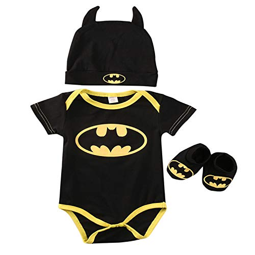 Neugeborene Baby Jungen Batman Strampler 3Pcs Schuhe Hut Outfits Set Kleidung (70(0-6Monat), Schwarz A)