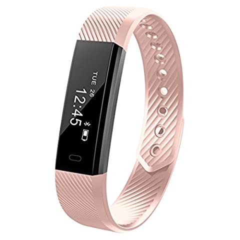 IFit Aktivitätstracker / Smart-Armband mit Bluetooth, Uhr, Schlafüberwachung, wasserdicht, Bedienungsanleitung evtl. nicht in deutscher Sprache, rose