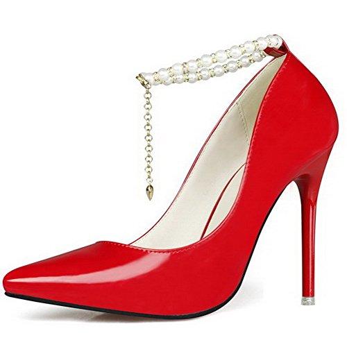 AgeeMi Shoes Donna Tacco A Spillo Fibbia Scarpe A Punta Ballerine con Gioielli, Rosso-Gioielli, 37
