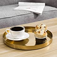 MyGift 11-inch Brushed Brass Plated Metal Round Decorative Serving Tray