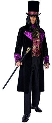 Imagen de parejas damas y caballeros, gótico conde y condesa vampiro lencería disfraz de vampiresa largo de longitud completa vestido de disfraces alternativa